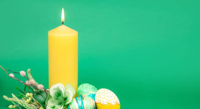 Centrotavola di Pasqua con le candele