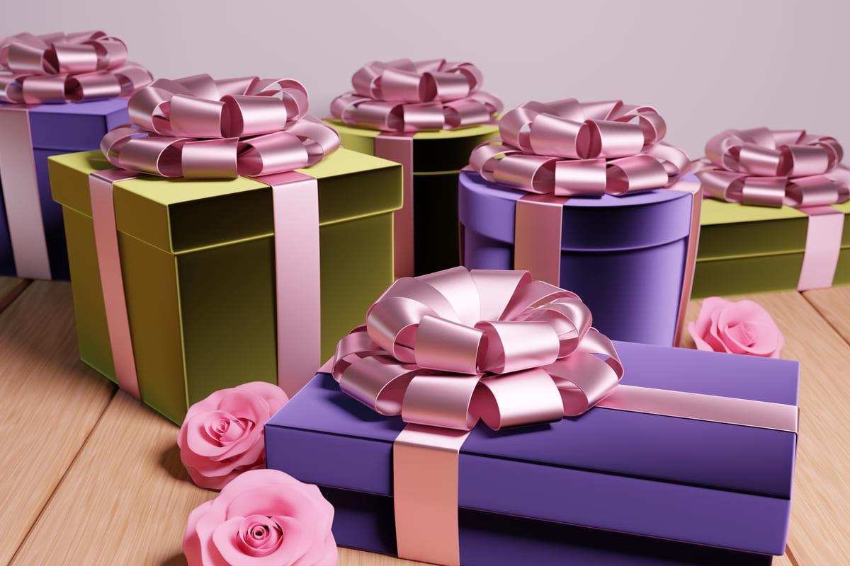 regali pacchi nastro rosa