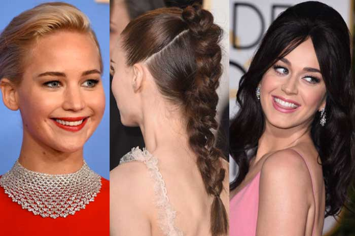look hair makeup golden globe 2016