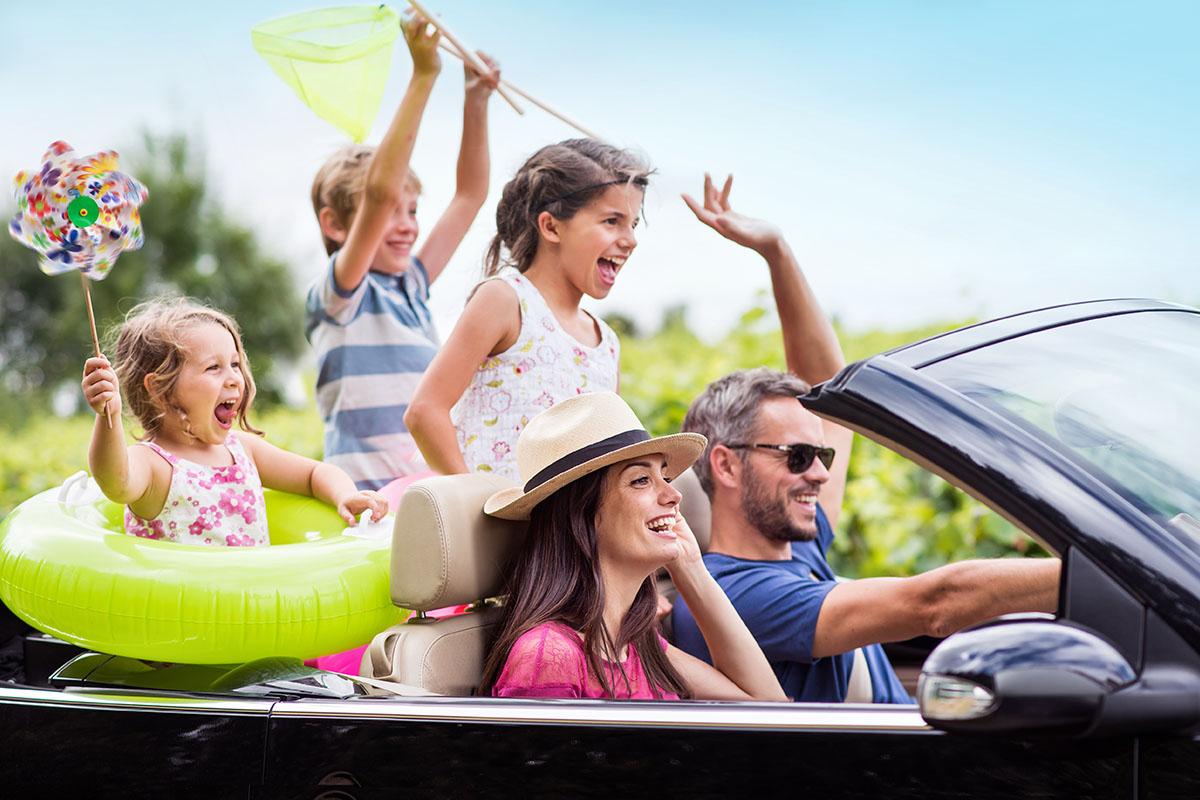 Vacanza Genitori Bambini Viaggio Macchina