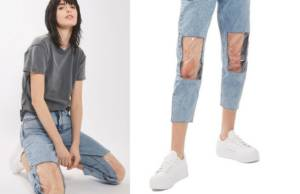 Clear Knee Mom Jeans