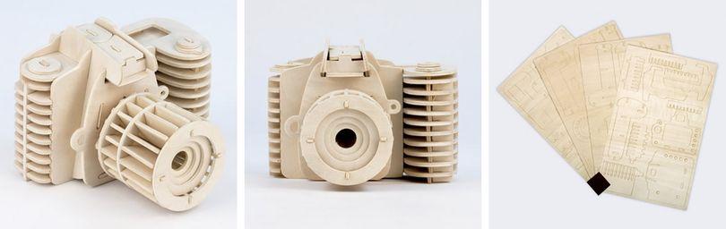 Macchina fotografica di legno da montare