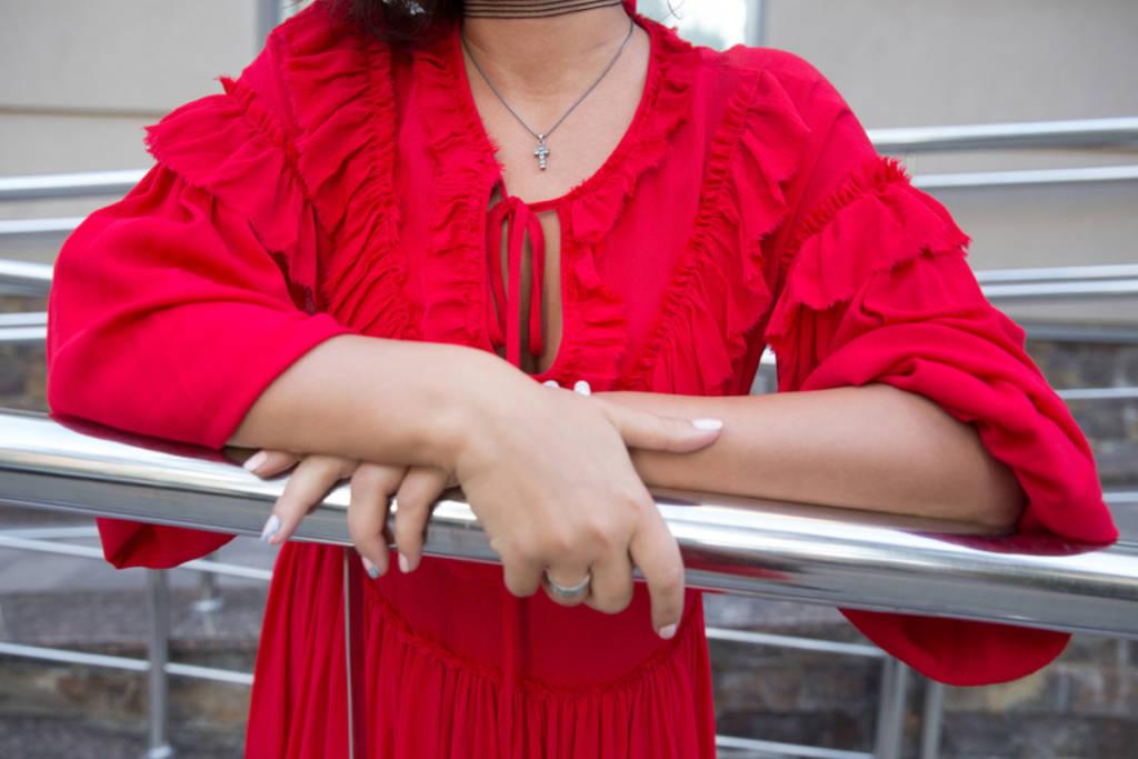 Vestito con rouches rosso