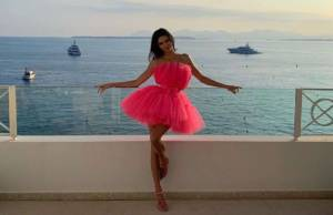 Kendall jenner in Flamingo pose