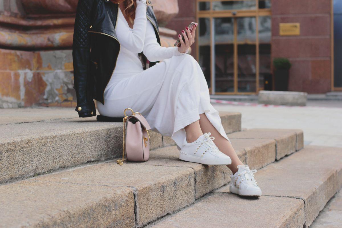 Vestito in maglina bianco lungo