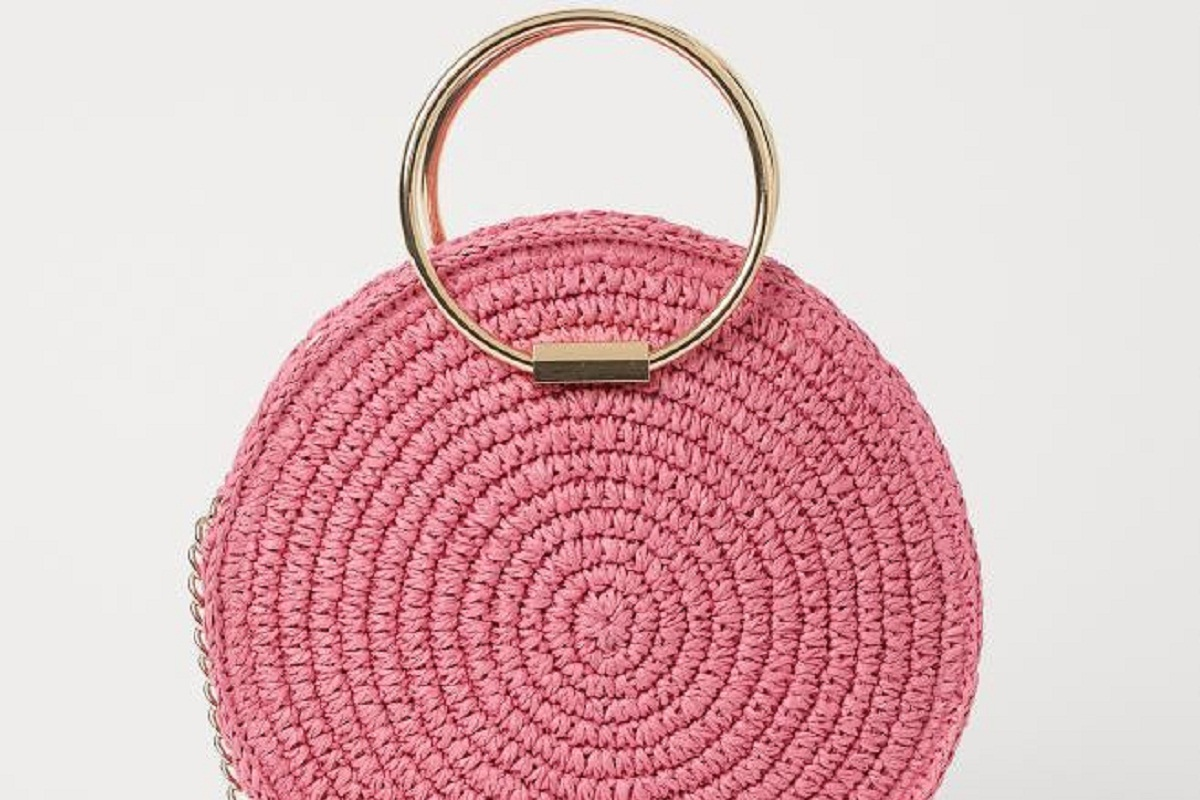 Borsa in paglia rosa H&M