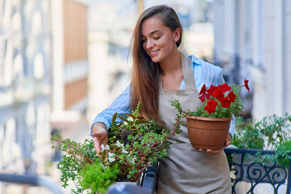 Donna cura le piante da esterno