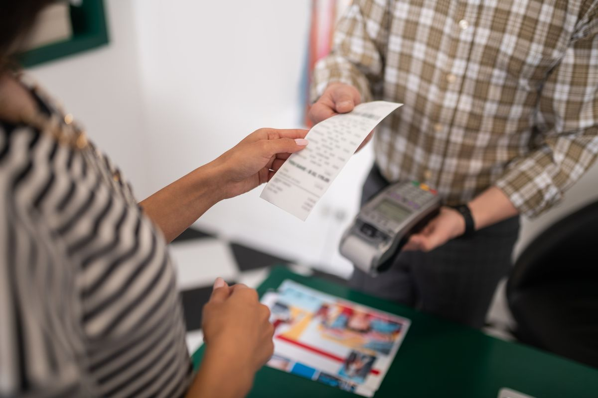 Scontrino per pagamento con pos