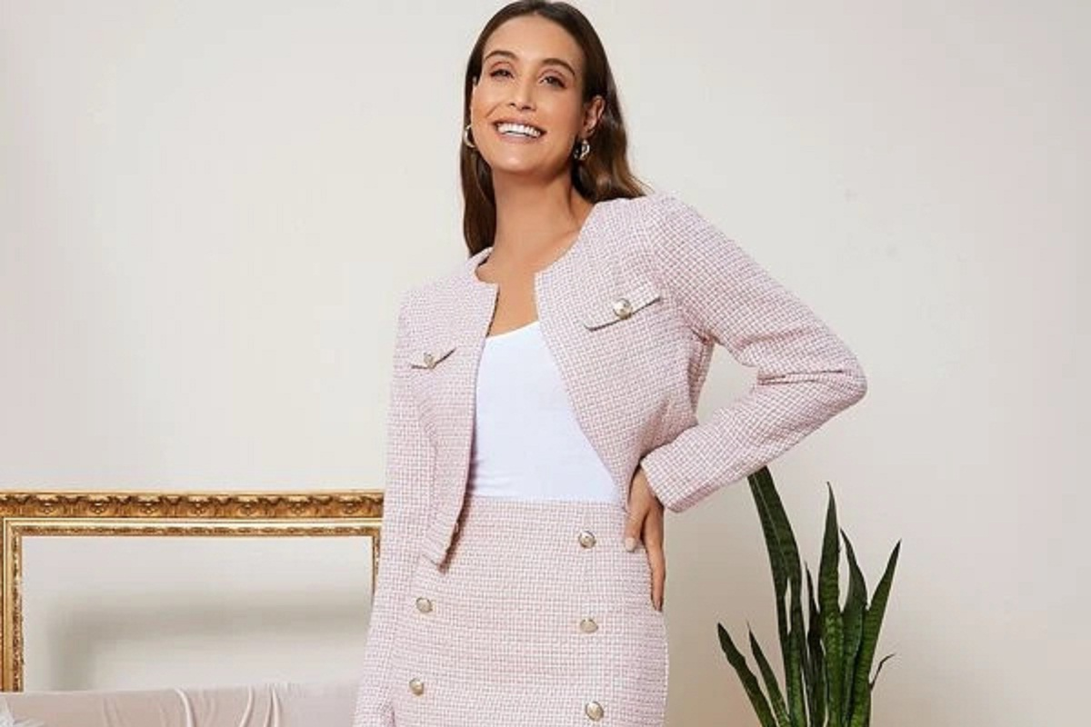 Tailleur in tweed rosa Shein